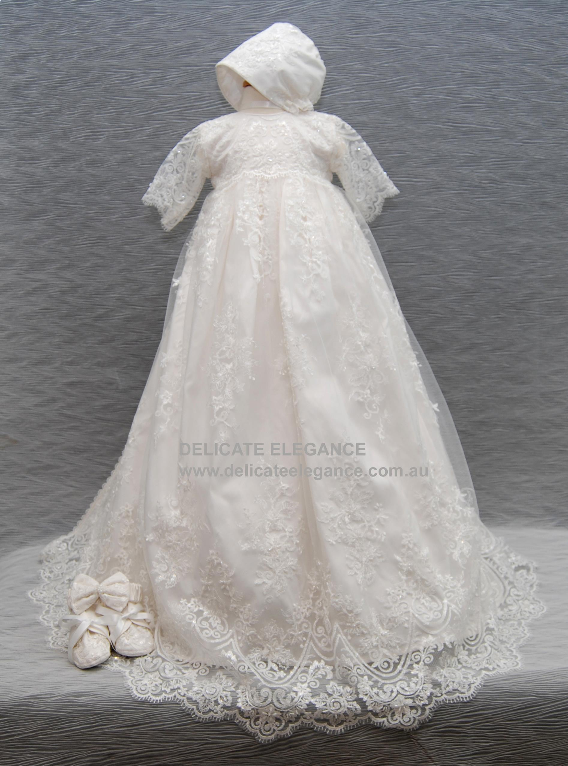 4248 (Ivory Lace): Girls\' Silk Christening Gown - Delicate Elegance