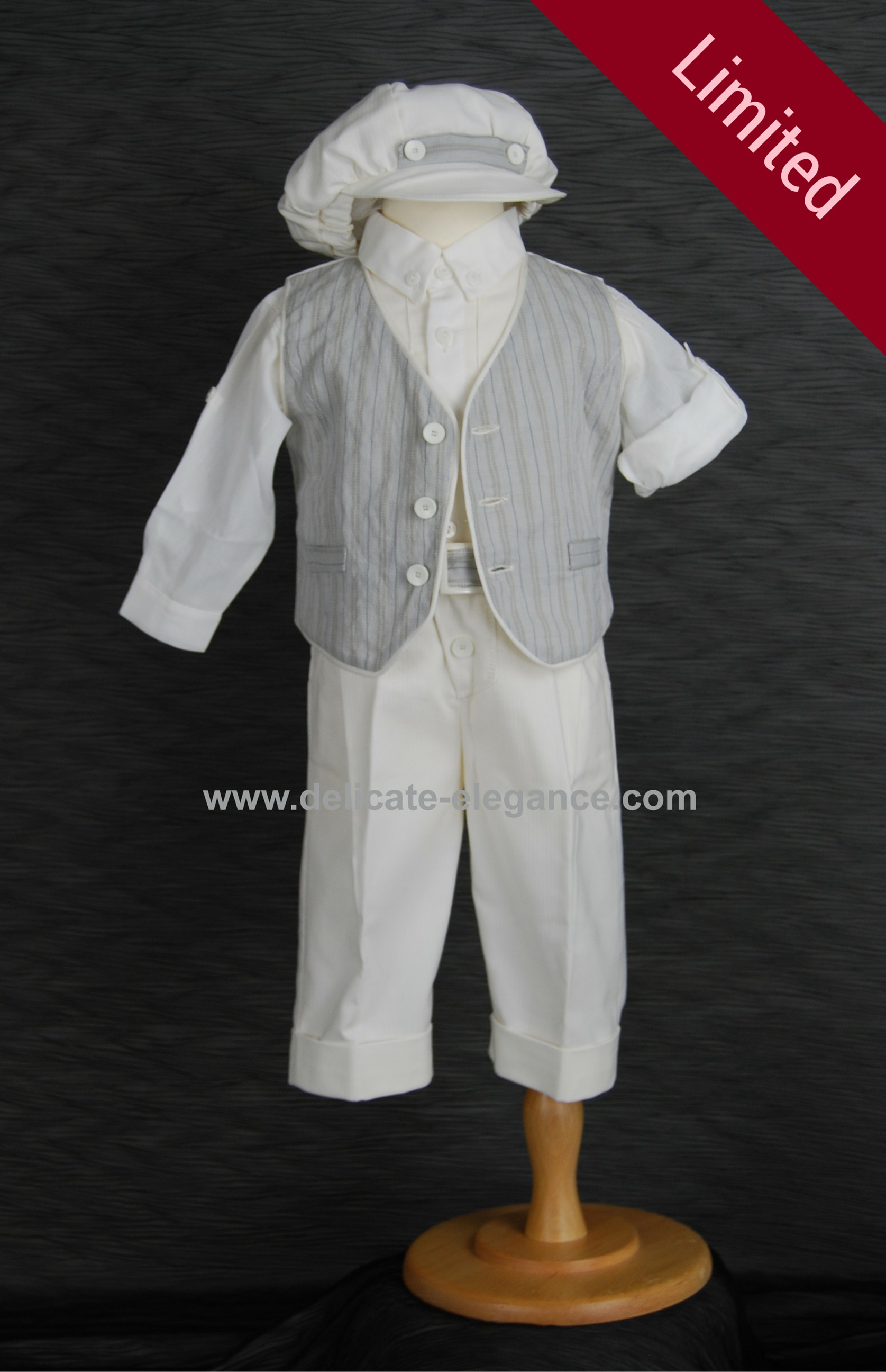 1971 (Grey): Boys' Four-Piece Christening Suit