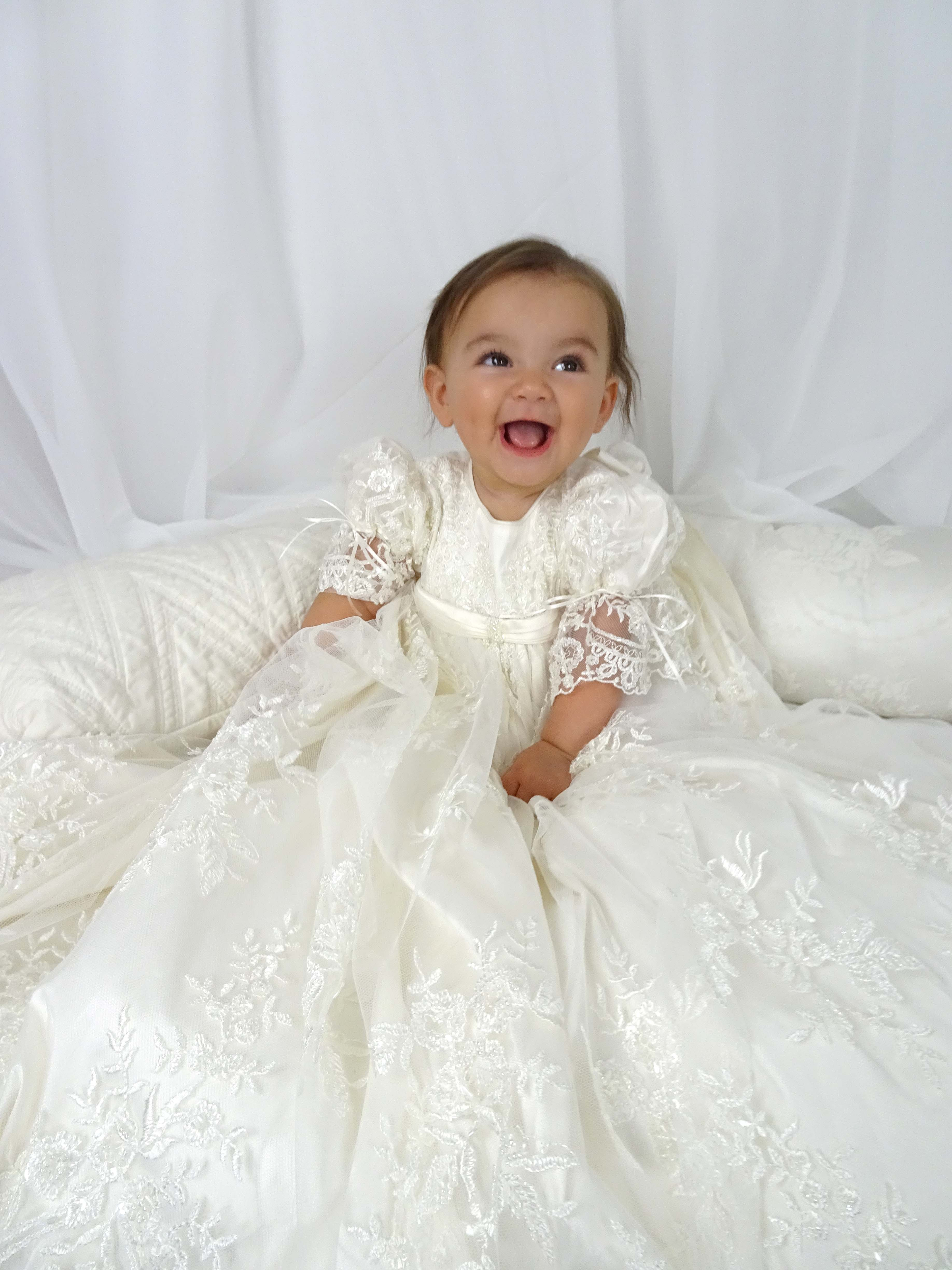 4255 Ivory Lace Girls Silk Christening Gown Delicate