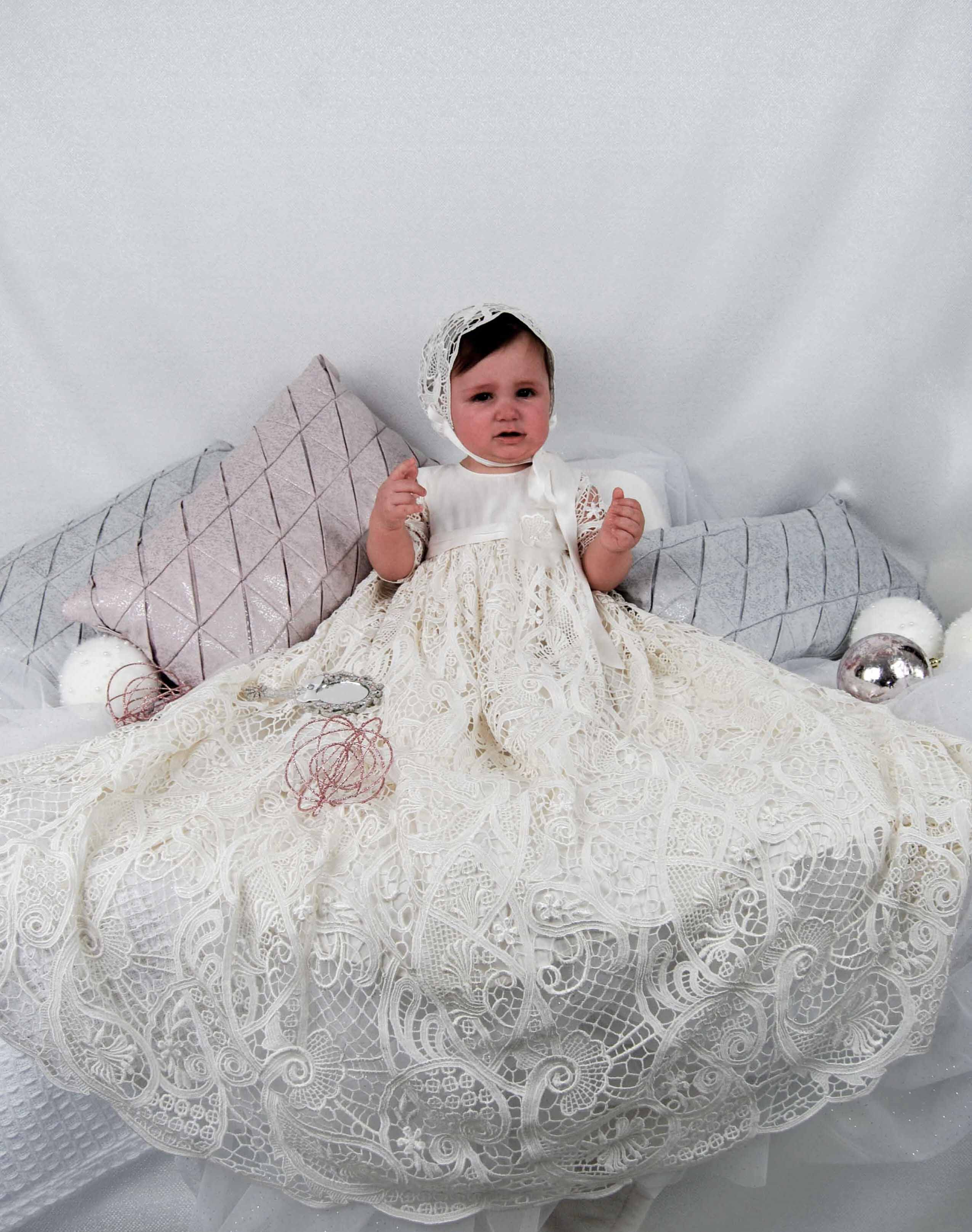 4300 (Ivory Lace): Girls\' Silk Christening Gown - Delicate Elegance