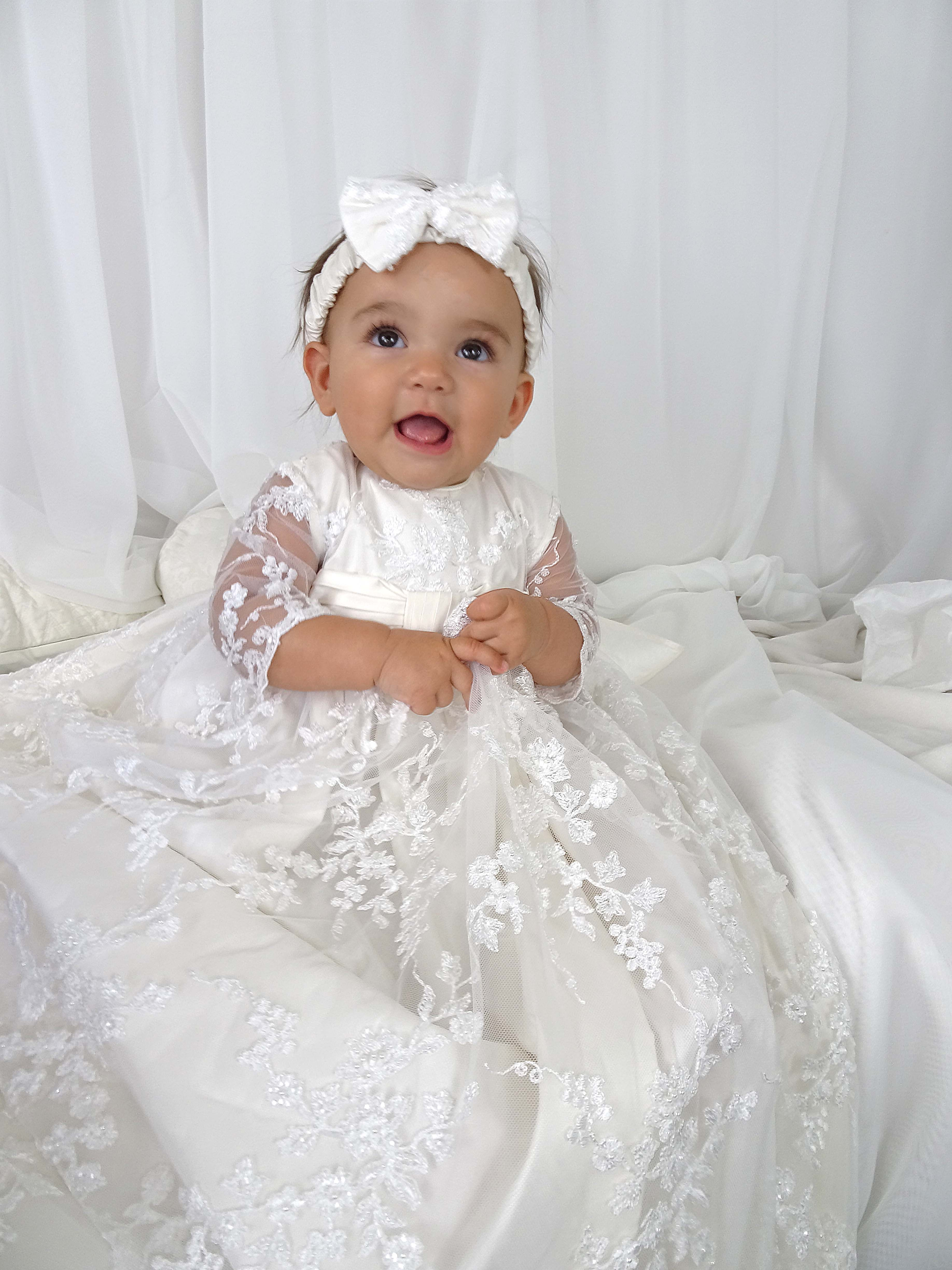 4239b White Lace Girls Silk Christening Gown Delicate