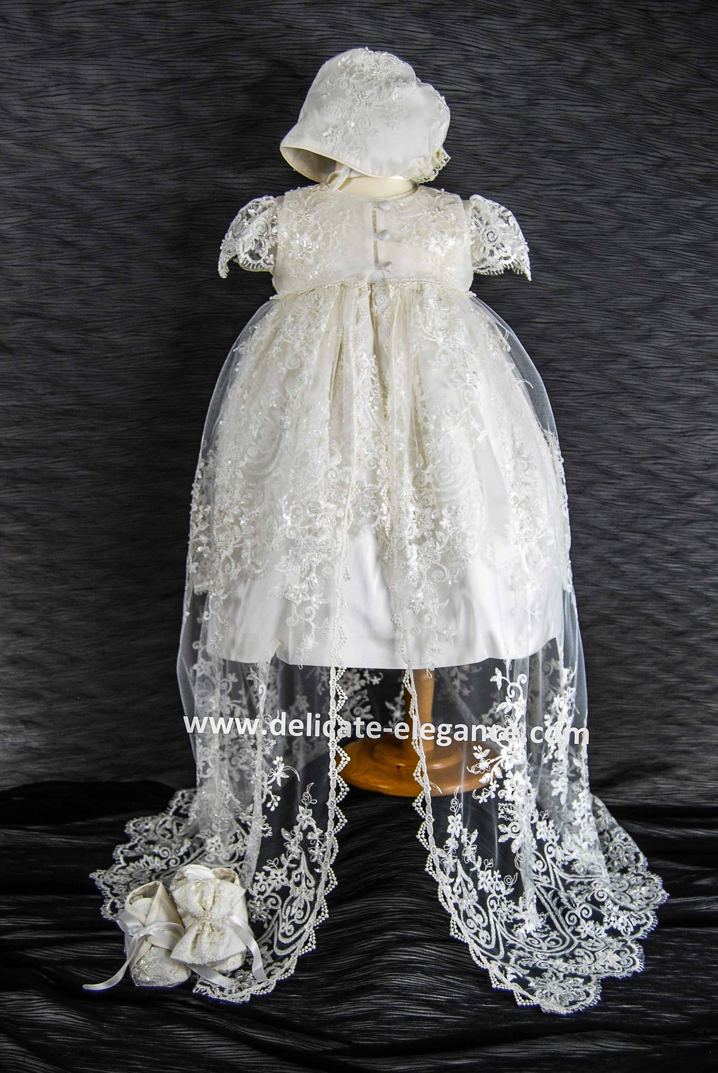 4249pd Ivory Lace Girls Silk Christening Dress Lace