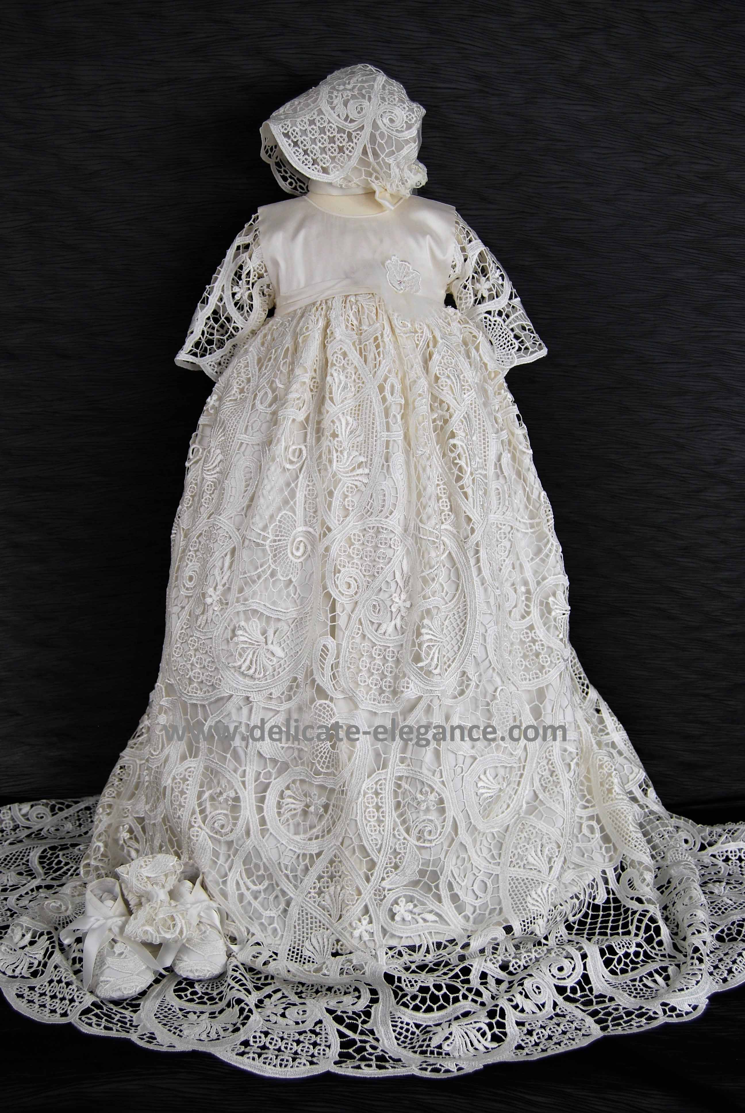 4300 Ivory Lace Girls Silk Christening Gown Delicate